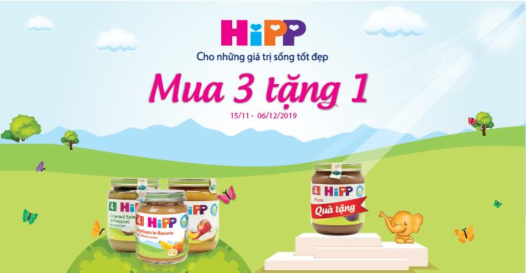 Dinh dưỡng đóng lọ HiPP - Mua 3 tặng 1