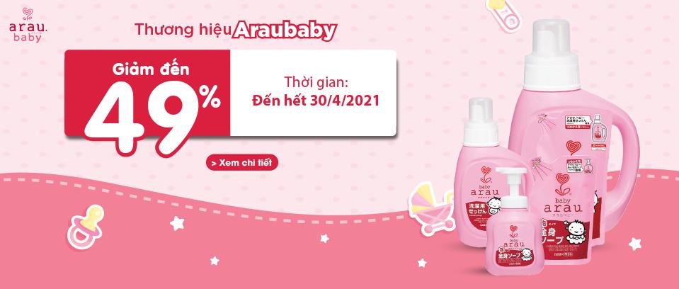 Thương hiệu Arau Baby giảm đến 49%