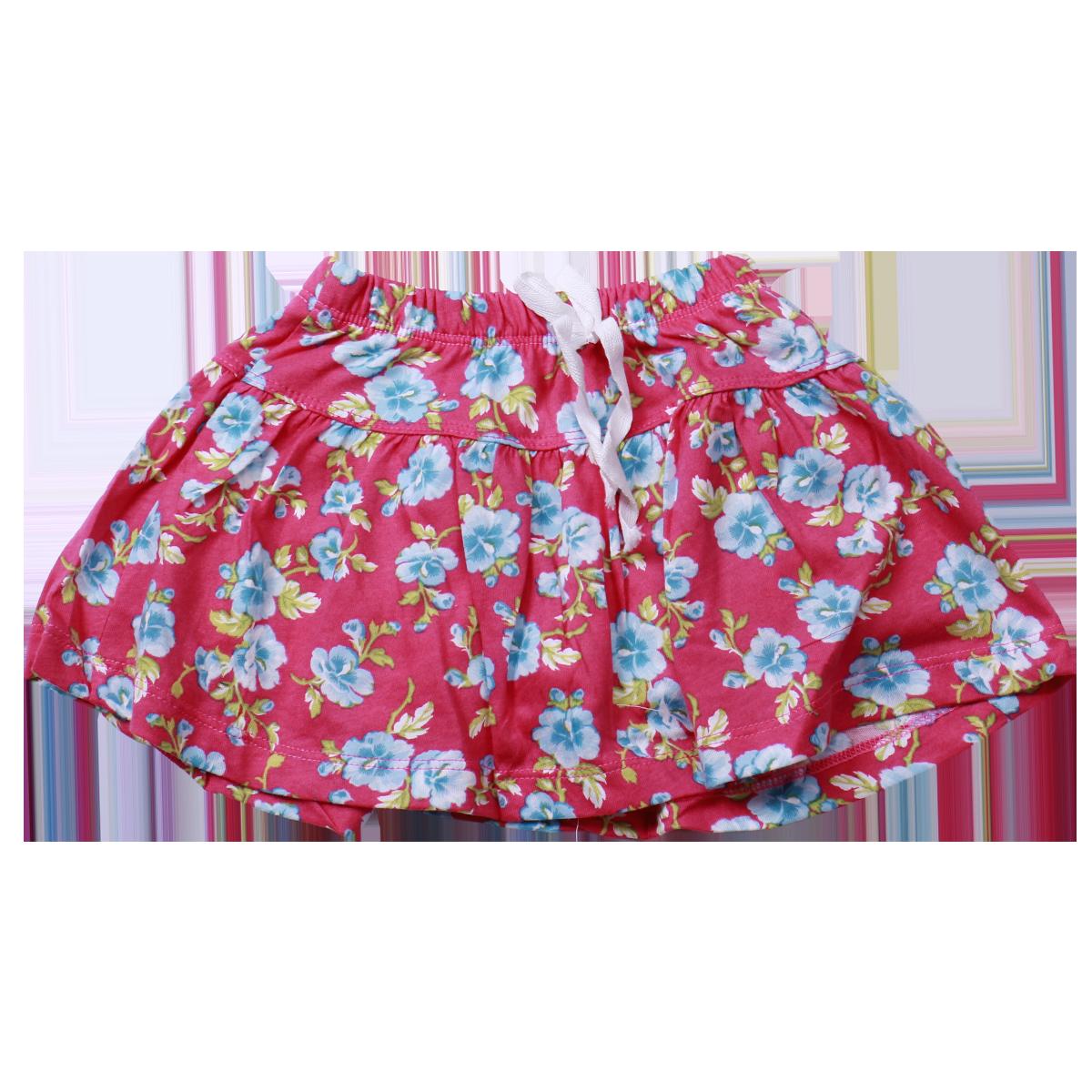 Chân váy bé gái màu hồng in hoa