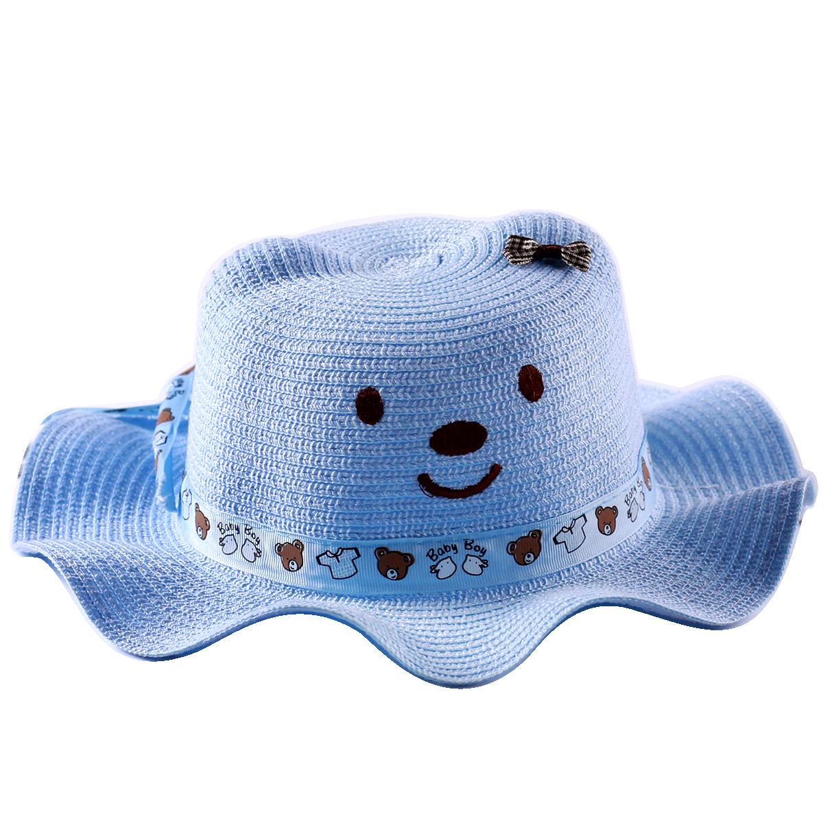Mũ rộng vành hình gấu màu xanh