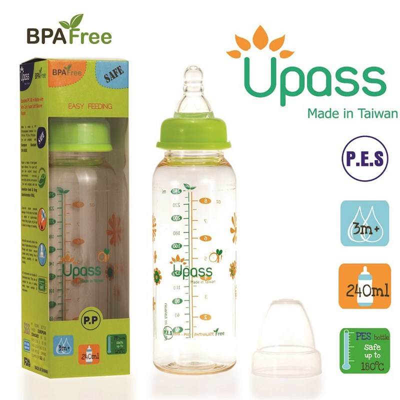 Binh sua Upass 240ml PES co thuong (02801CL, 02801C)
