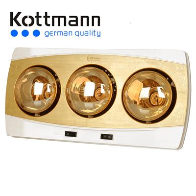 Đèn sưởi treo tường nhà tắm Kottmann 3 bóng vàng