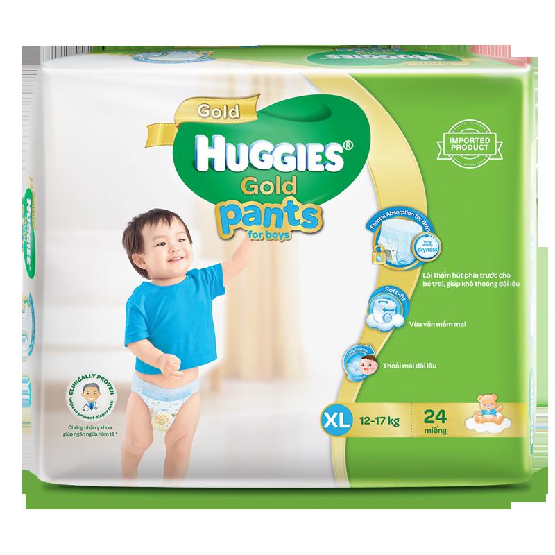 Tã - Bỉm quần Huggies Gold bé trai XL24 (12-17kg)
