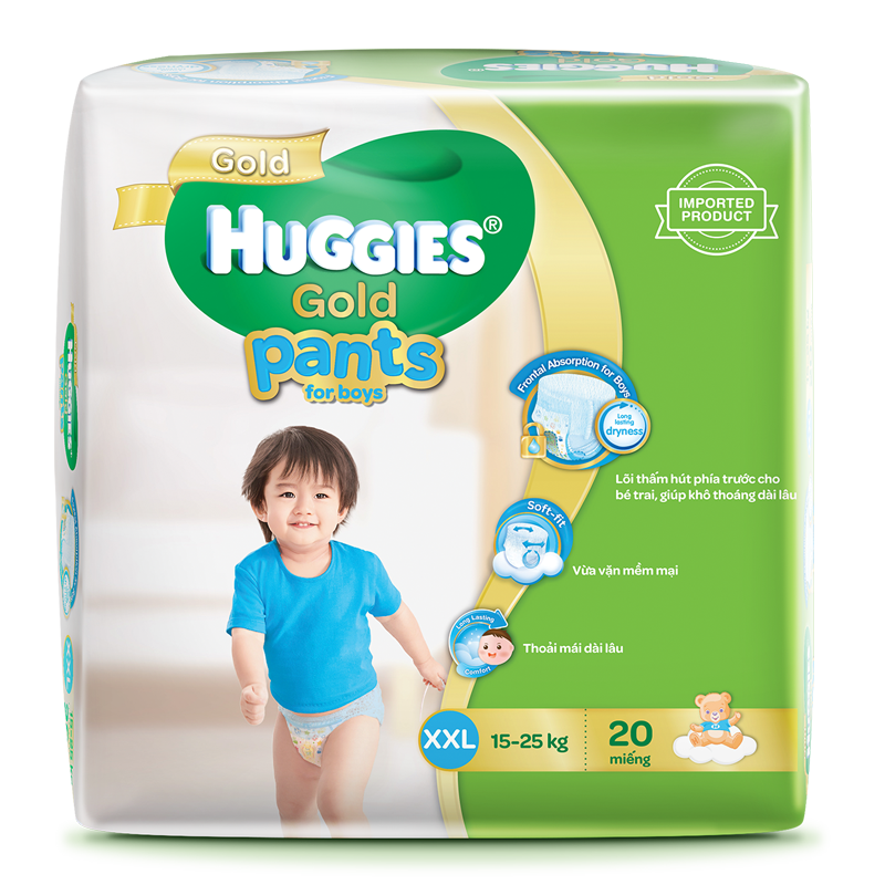 Tã - Bỉm quần Huggies Gold bé trai XXL20 (15-25kg)