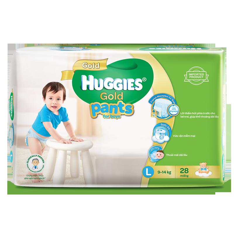 Tã - Bỉm quần Huggies Gold bé trai L28 (9-14kg)