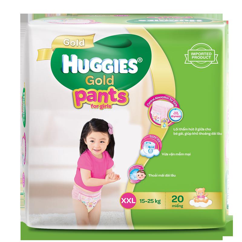 Tã - Bỉm quần Huggies Gold bé gái XXL20 (16-25kg)