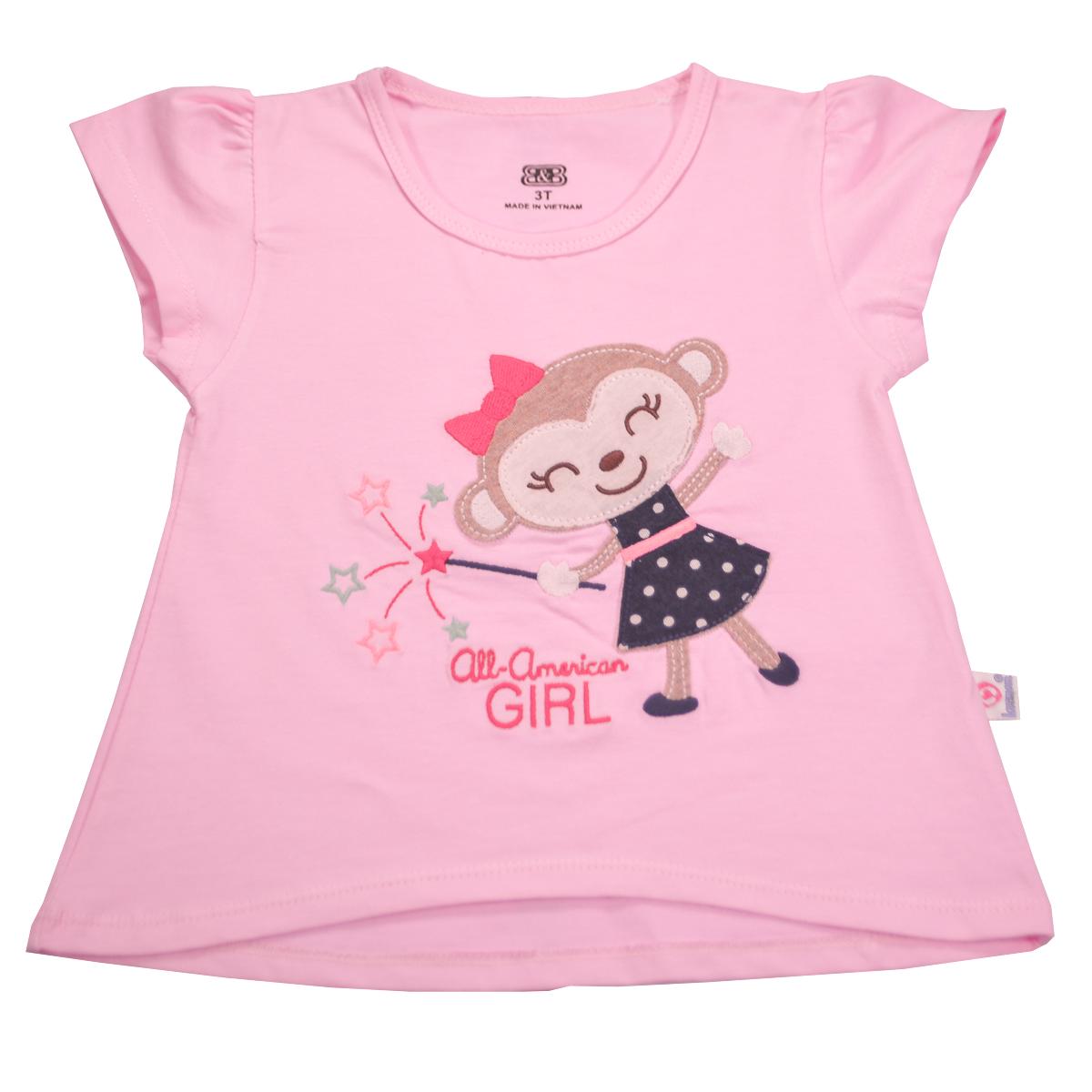 Áo thun bé gái Lovemom màu hồng (thêu công chúa khỉ)