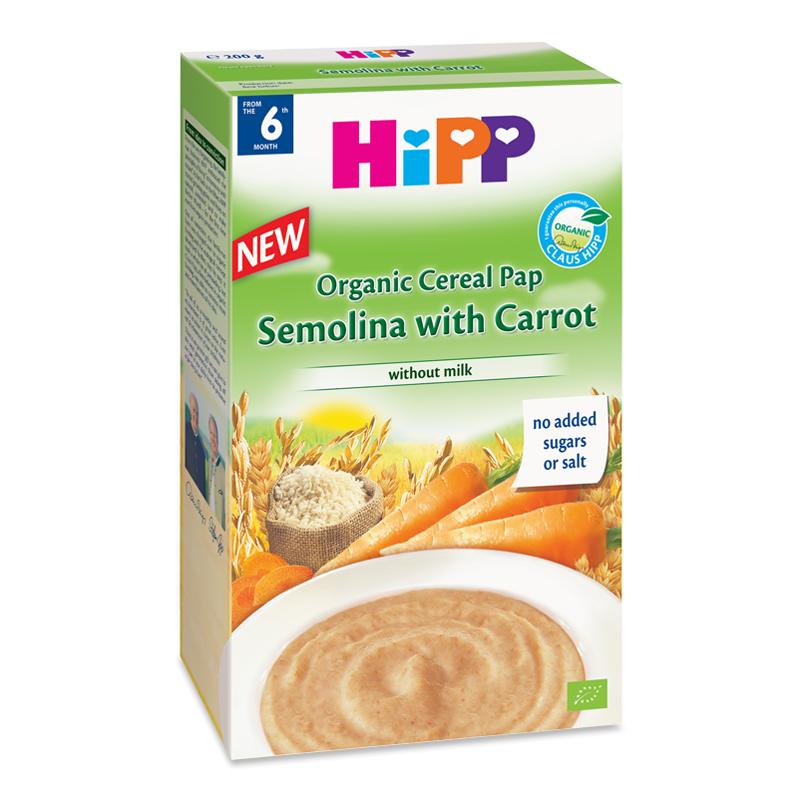 Bột ngũ cốc HiPP Semolina và cà rốt (200g)