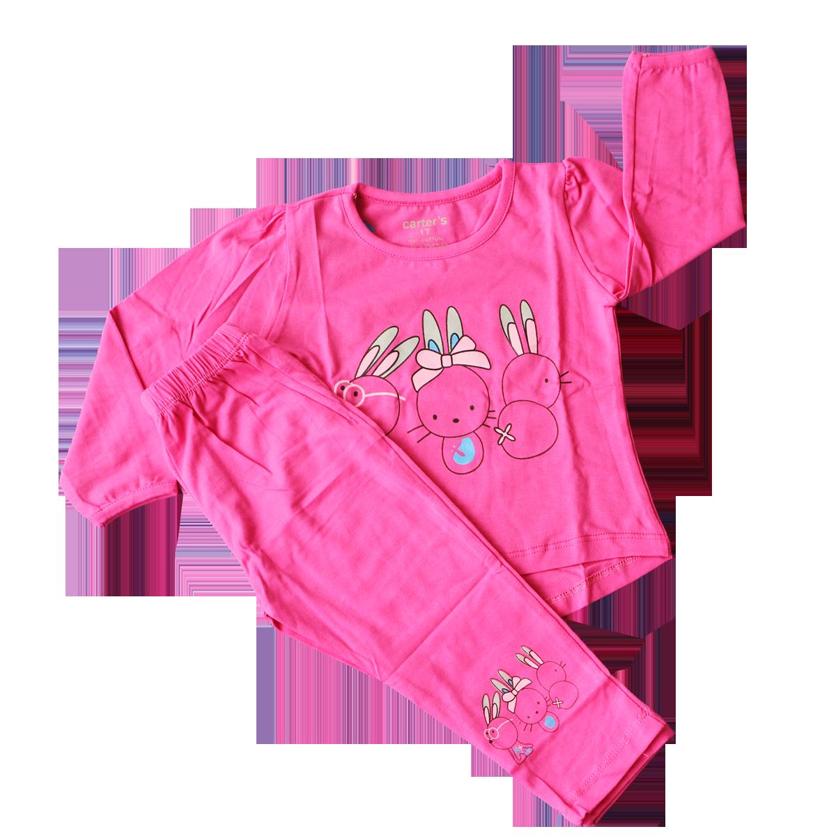 Bộ quần áo dài tay bé gái in hình thỏ (2-5T)