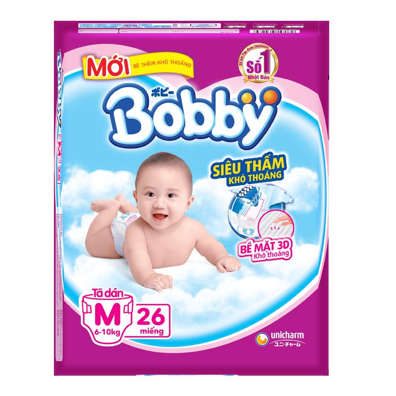 Tã - Bỉm dán Bobby siêu mỏng M26 (6-10kg)