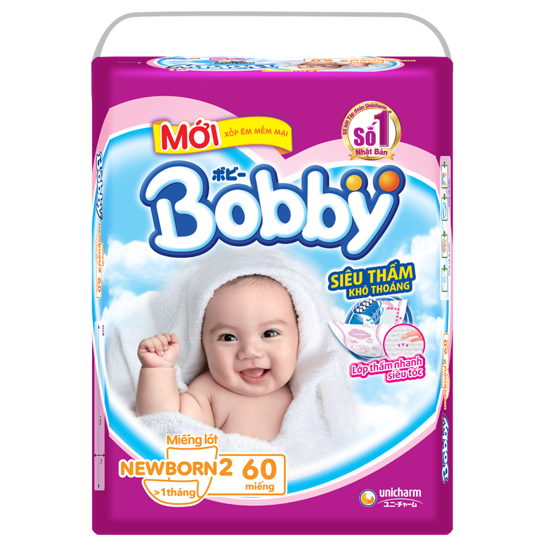 Tã giấy Bobby Newborn 2 (60 miếng)
