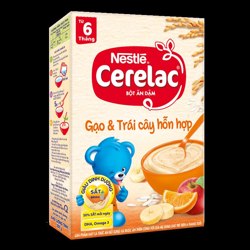 Bột ăn dặm Nestle Cerelac - Gạo & trái cây hỗn hợp (200gr)