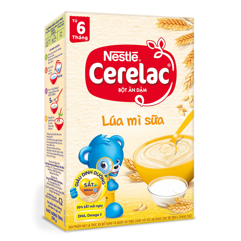 Bột ăn dặm Nestle Cerelac - Lúa mỳ & sữa (200gr)