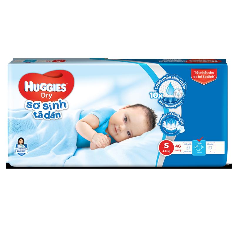 Tã dán sơ sinh Huggies Dry S46