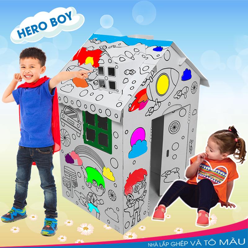 Nhà lắp ghép và tô màu - Hero Boy