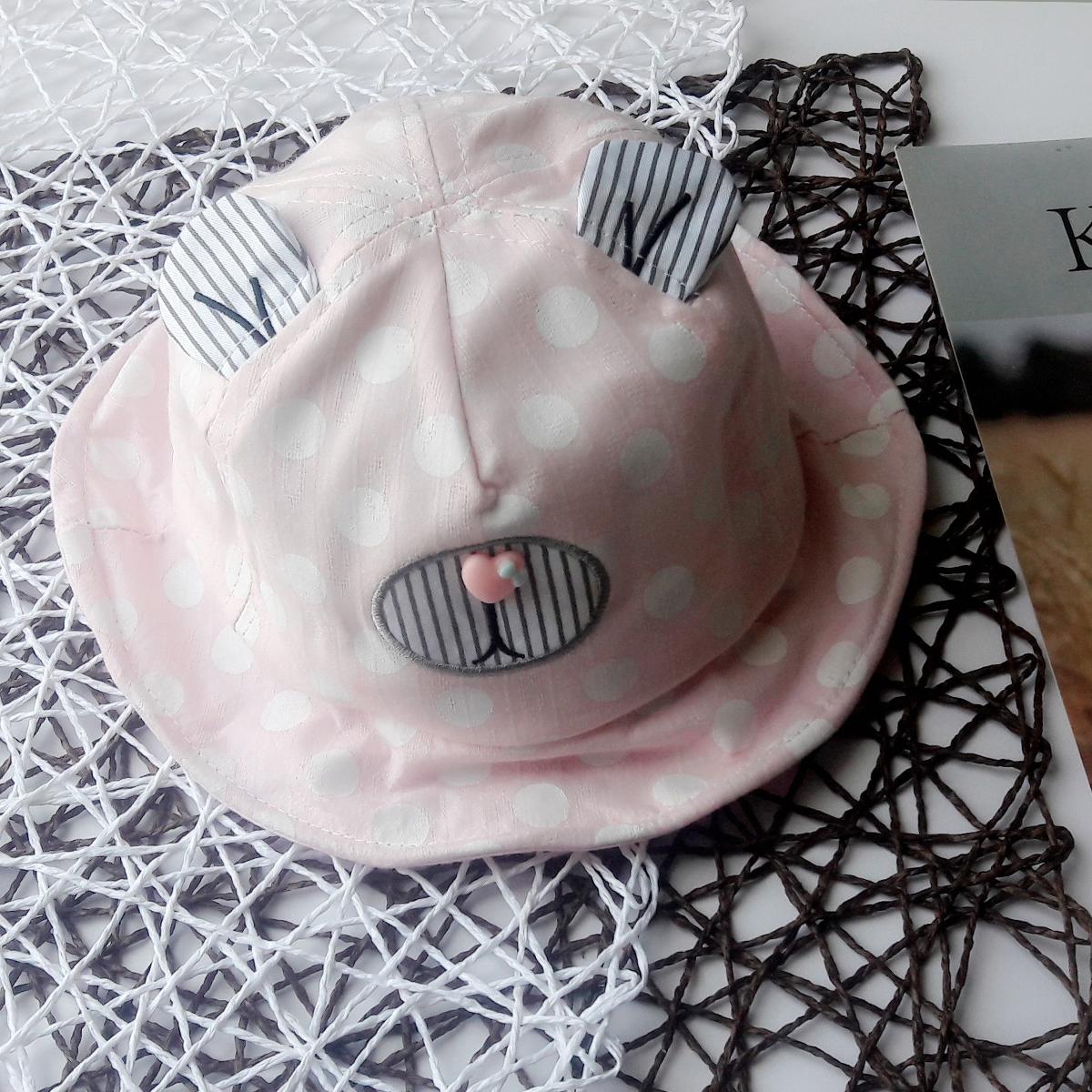 Mũ vành tròn chấm bi bé gái (1-3T)