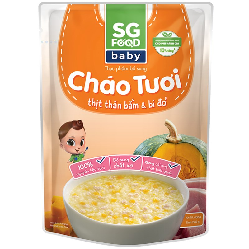 Chao tuoi Baby SG Food - Thit than bam bi do 240g (10M+)