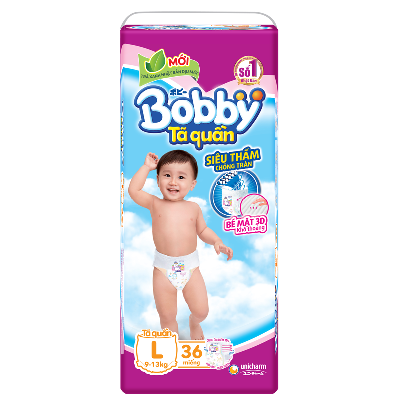 Tã - bỉm quần Bobby L36 (9-13kg)
