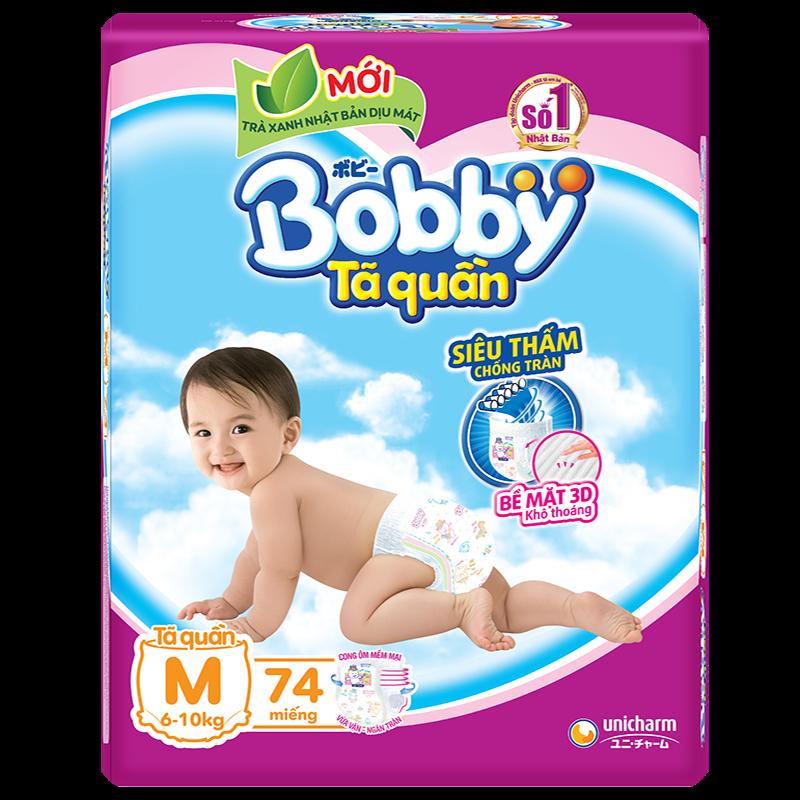 Tã - Bỉm quần Bobby trà xanh M74 (6-10 kg)