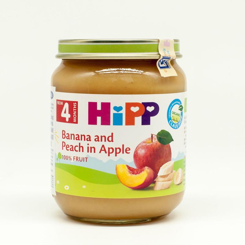 Dinh dưỡng đóng lọ HiPP chuối, đào, táo (125g)
