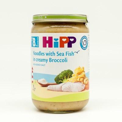 Dinh dưỡng đóng lọ HiPP - Mì tagliatelle, cá hồi sốt kem, lơ xanh (220g)