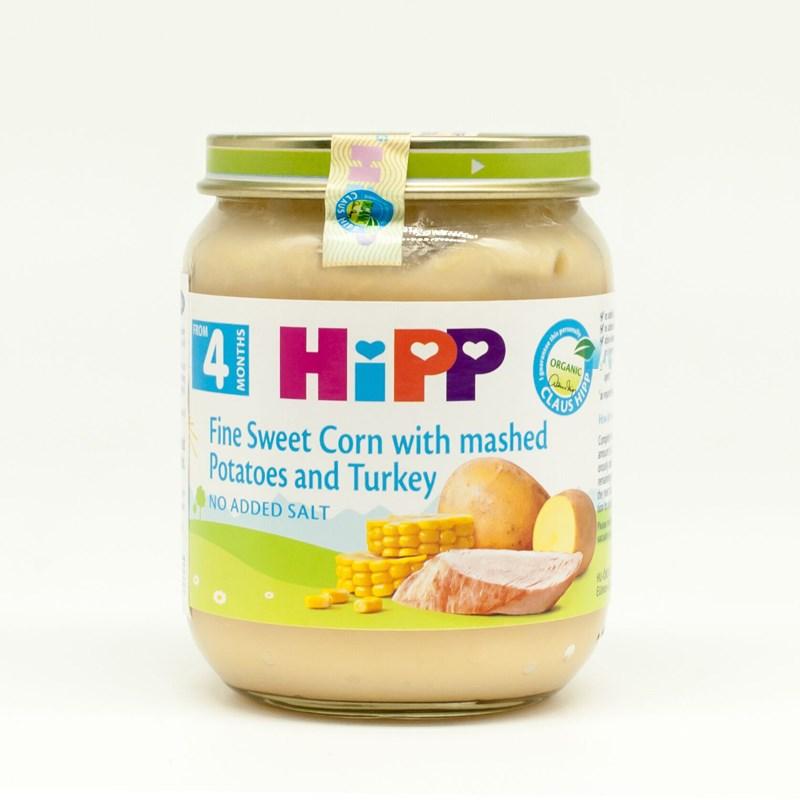Dinh dưỡng đóng lọ Hipp ngô bao tử, khoai tây, gà tây