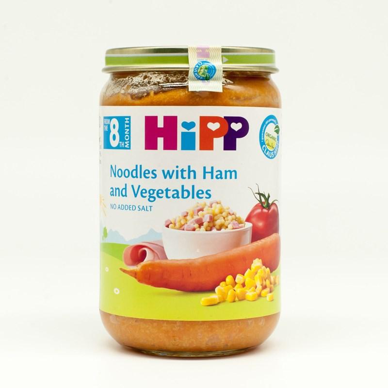 Dinh dưỡng đóng lọ Hipp thịt giăm bông, mì ống, rau củ (220g)