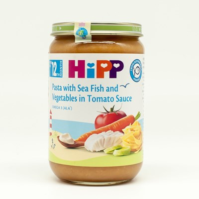 Dinh dưỡng đóng lọ HiPP - Mỳ bẹt cá hồi rau (220g)