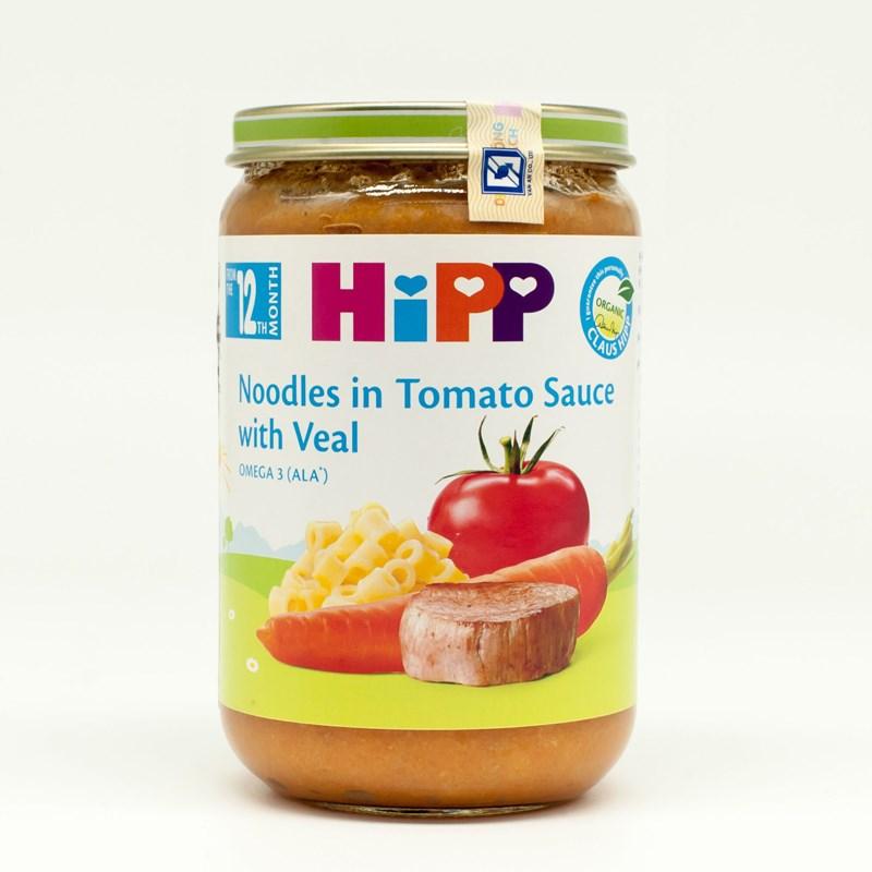 Dinh dưỡng đóng lọ HiPP sạch  - Mỳ sợi cà chua thịt bê 220g