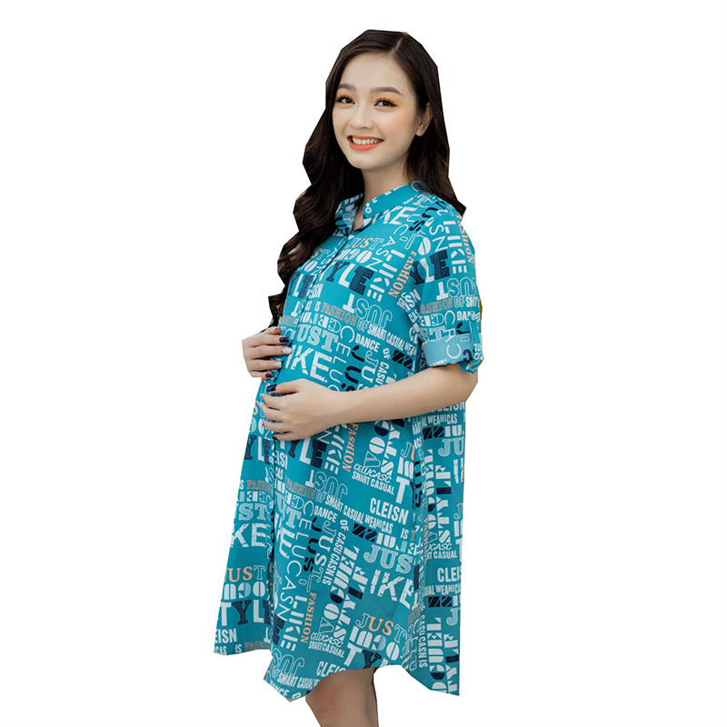Đầm bầu sơ mi tay lửng in chữ xanh ngọc Emum