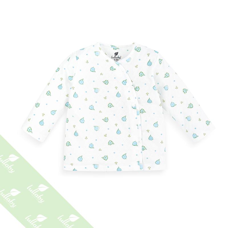 Áo dài tay cài lệch in hình gấu Lullaby NH08-16 (xanh)