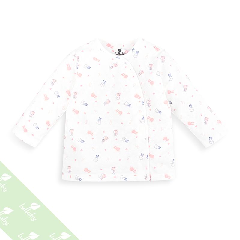 Áo dài tay cài lệch in hình thỏ Lullaby NH08-16 (hồng)