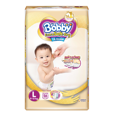 Tã Bỉm quần Bobby Extra Soft Dry L56 (9-13kg)