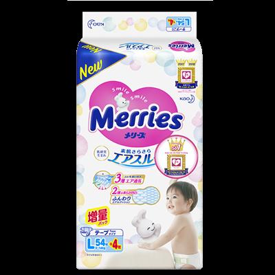 Tã - Bỉm dán Merries L54 + 4 miếng (9-14kg)