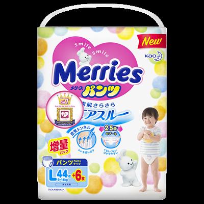 Tã - Bỉm quần Merries L44 + 6 miếng (9-14kg)