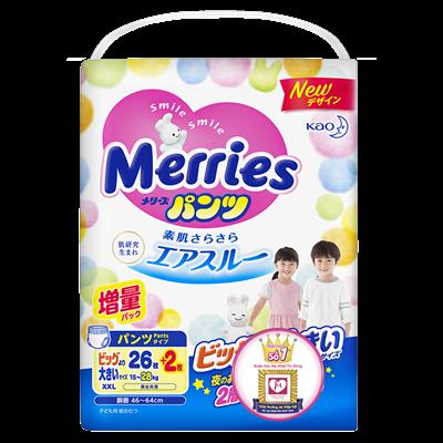 Tã - Bỉm quần Merries XXL26 + 2 miếng (15-28kg)