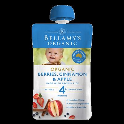 Hỗn hợp quả mọng, quế, táo Bellamy's Organic 120g (4M+)