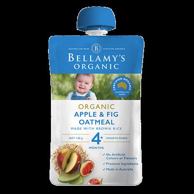 Hỗn hợp táo, sung, yến mạch xay nhuyễn Bellamy's Organic 120g (4M+)