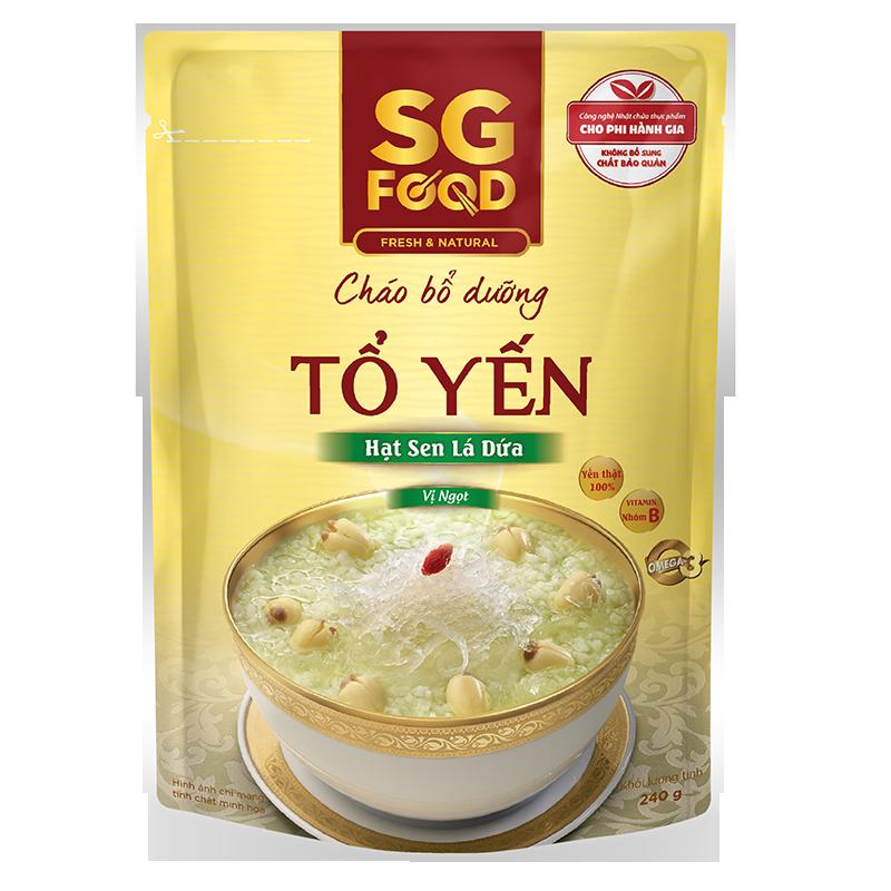 Cháo bổ dưỡng SG Food - Tổ yến, hạt sen, lá dứa (240g)