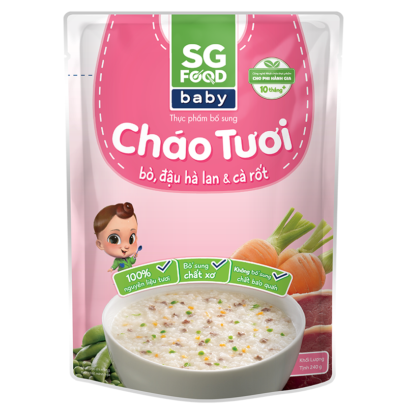 Cháo tươi Baby SG Food - Bò, đậu Hà Lan, cà rốt 240g (10M+)