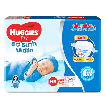 Tã dán sơ sinh Huggies NB74 (<5kg)