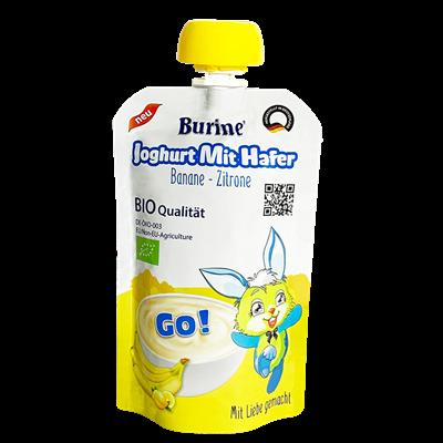 Sữa chua yến mạch Burine Organic vị chuối, chanh 95g