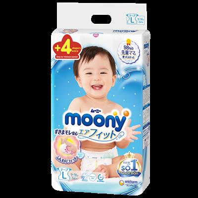 Tã - bỉm dán Moony L54 + 4 miếng