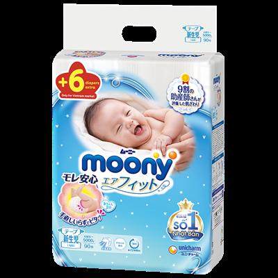 Tã - bỉm dán Moony Newborn NB90 (dưới 5kg)