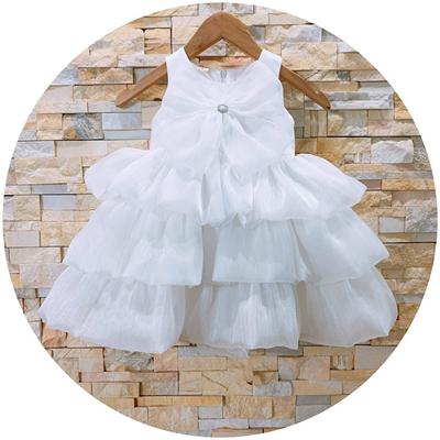 Đầm voan xếp tầng nơ ngực cho bé (trắng)