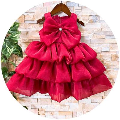 Đầm voan xếp tầng nơ ngực cho bé (đỏ)